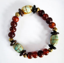Load image into Gallery viewer, Scarab Amulet Bead Stretch Bracelet for wrist up to 7.25 Inches
