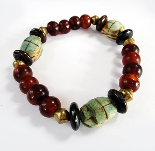 Scarab Amulet Bead Stretch Bracelet for wrist up to 7.25 Inches