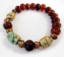 Load image into Gallery viewer, Scarab Bead Stretch Bracelet fits up to a 6.25 inch wrist.