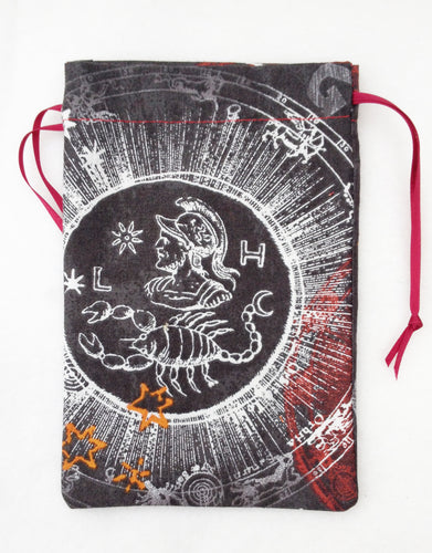 Scorpio Zodiac Sign Cotton Drawstring Bag for Your Tarot Deck