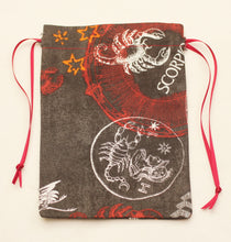 Load image into Gallery viewer, Scorpio Zodiac Sign Cotton Drawstring Bag for Your Tarot Deck