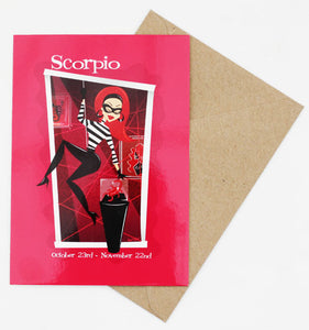 Scorpio Space-Age Jetson's Style Zodiac Post Card