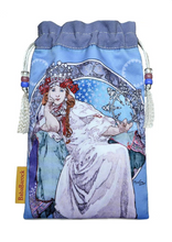 Load image into Gallery viewer, Princess Hyacinth - Mucha art nouveau print with vintage kimono backing - Limited Edition