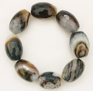 Natural Brown Dragon Veins Agate Faceted Oval Bead Bracelet
