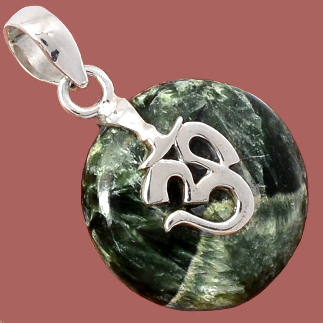 Siberian Seraphinite Pendant with Sterling Silver Om Design