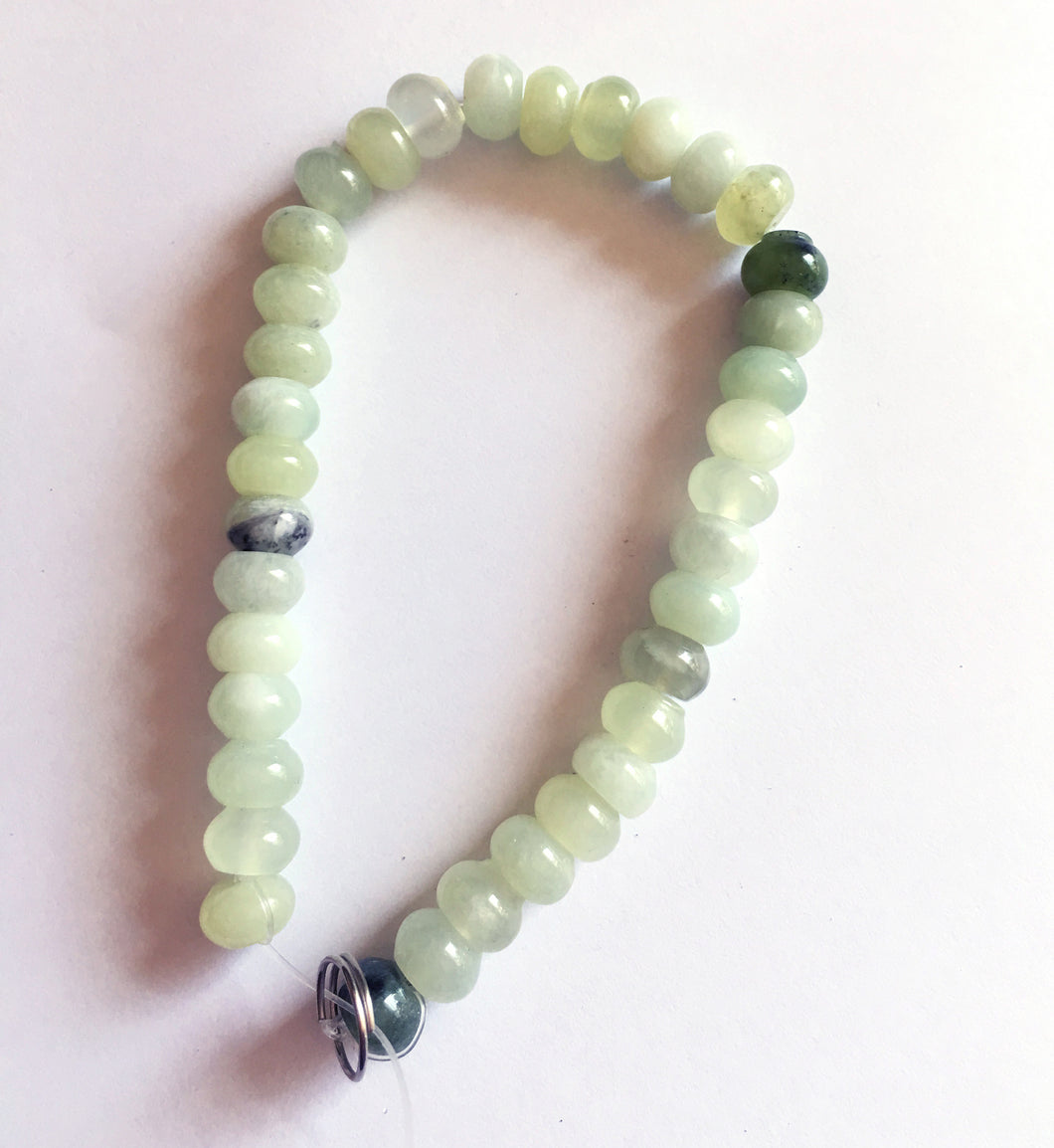 Green Serpentine Beads 8 inch strand of 8mm rondelles