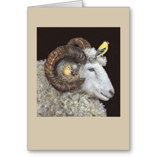 Sheep with Birds Friendship Card by Vicki Sawyer