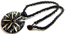 Load image into Gallery viewer, Black Cone Shell, Shiva Shell and Abalone Shell Medallion on black beaded rope.