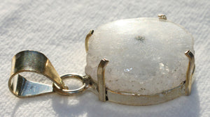 Solar Quartz Pendant in Sterling Silver Prong Style Setting