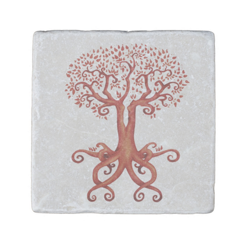 Tree of Life and Love Stone Coaster in Sienna