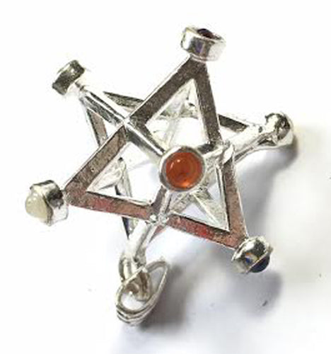 Merkaba pendant in Silver with chakra gemstones for Greater Brain Accessibility: Sacred Geometry Star of David