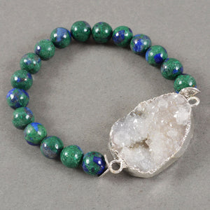 Quartz Druzy Focal Bead in Silver with Lapis Lazuli - Malachite Bead Bracelet