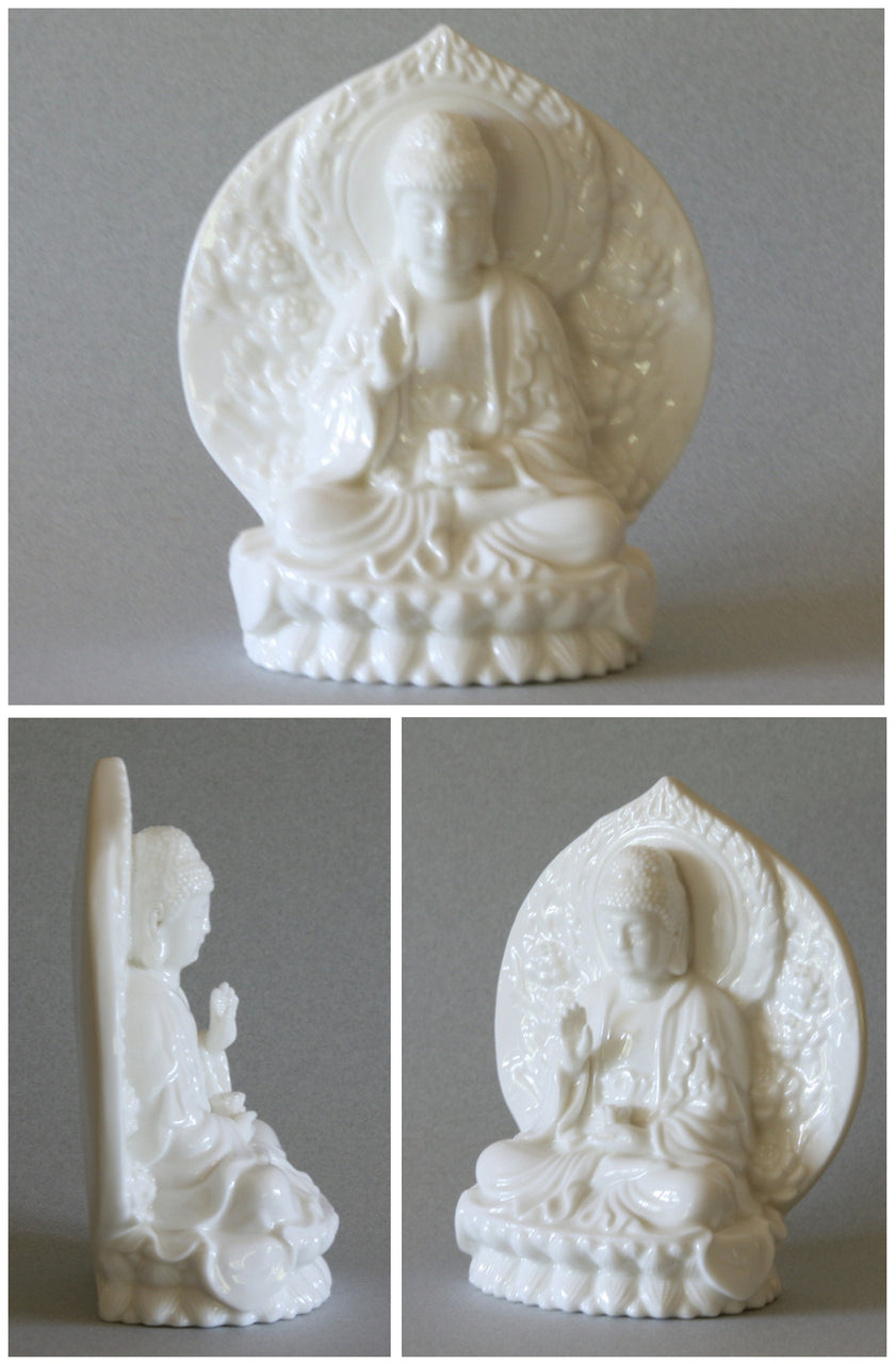 Sitting Buddha Statue with Wreath of Fire in Blanc-de-Chine Porcelain