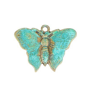 Butterfly Charm in Brass with teal green patina