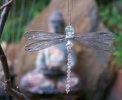 Dragonfly Mobile Swarovski Crystal Suncatcher Small Size