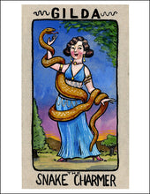 Load image into Gallery viewer, Gilda the Snake Charmer Card from Sugar Beet Press