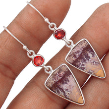 Load image into Gallery viewer, Sonora Dendrite Agate Earrings with Garnets