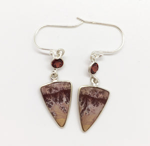 Sonora Dendrite Agate Earrings with Garnets