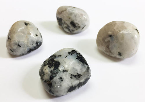 Rainbow Moonstone with Black Tourmaline in tumbled quarter pound lot