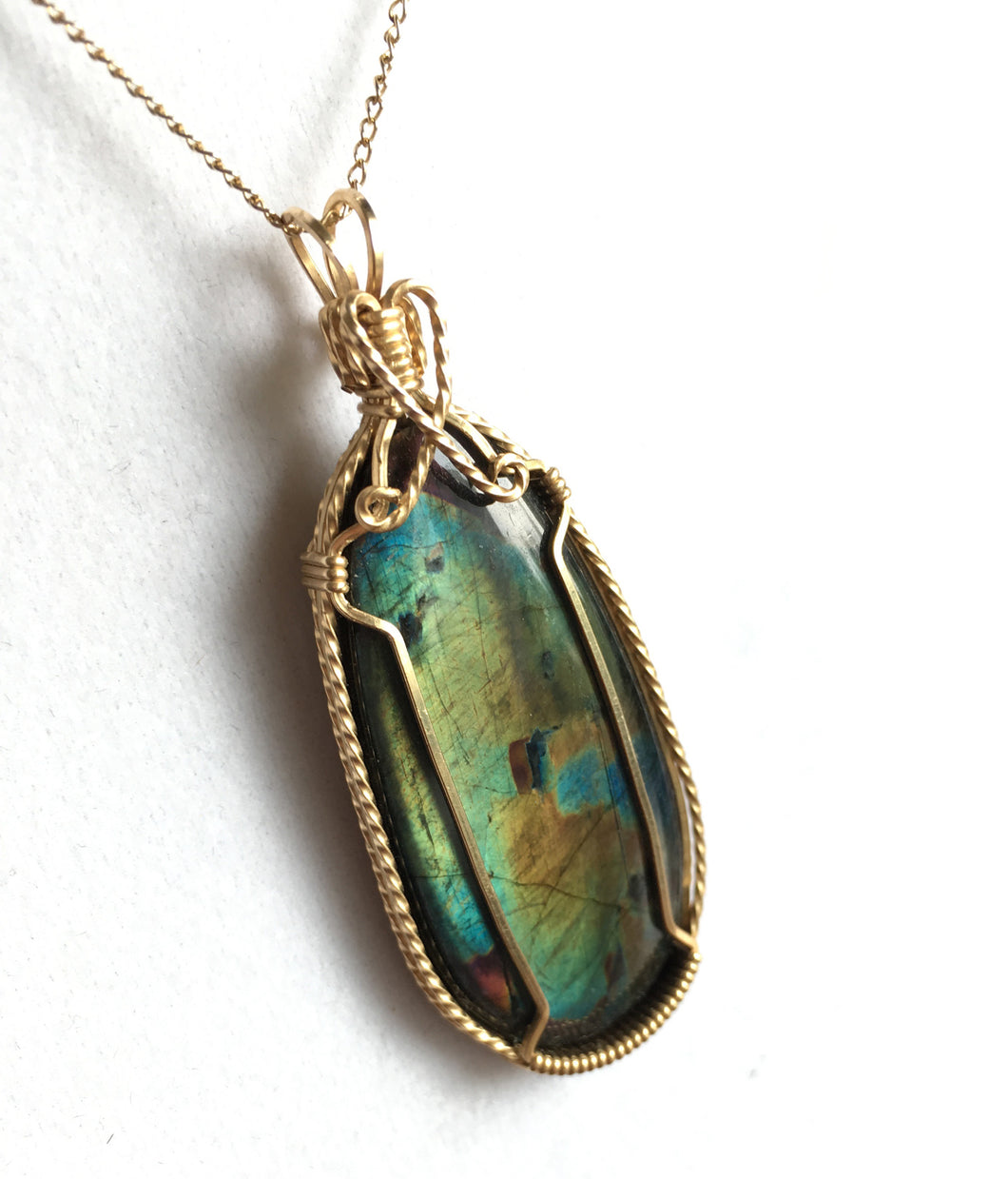 Spectrolite Labradorite Pendant Copper Wire Wrap Necklace
