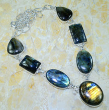 Load image into Gallery viewer, Spectrolite Labradorite Pendant Necklace 7 cab silver settings