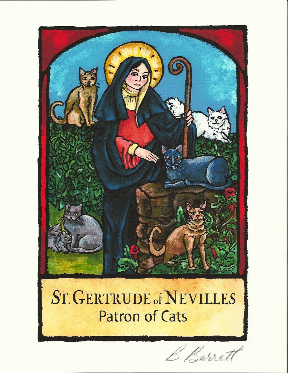 St Gertrude Patron Saint of Cats Art Print  by Barbara Barratt