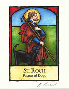 Patron of Dogs Art Print: Saint Roch Illustration by Barbara Barratt