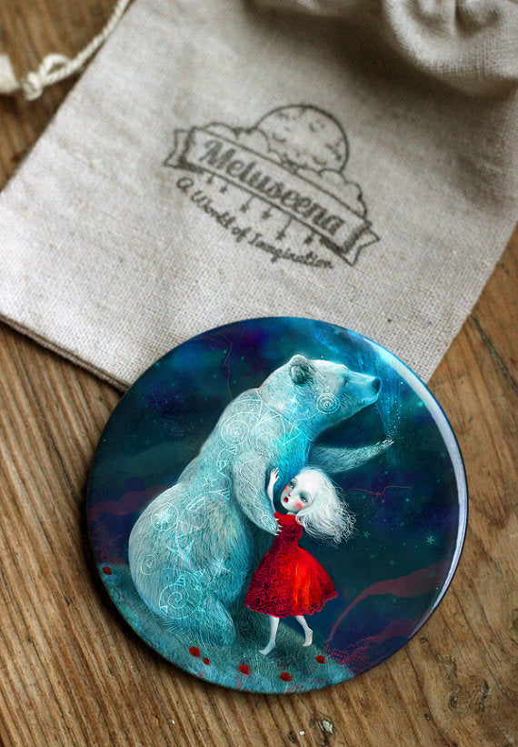 Star Bear Pocket Mirror 3 inches big, but very lightweight!