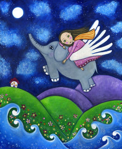 Girl and Elephant Stargazers Art Print - Whimsical Art by Lindy Longhurst