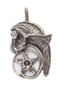 Celtic Dragon Pendant with Serpent and Pentacle with Garnet