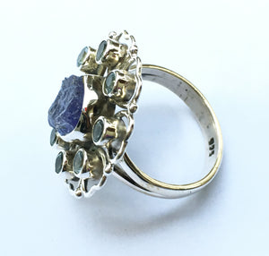 Tanzanite and Blue Topaz Ring Size 6.5