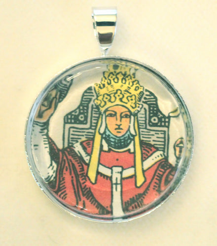Round Tarot Card Pendant or Charm - Image under Glass