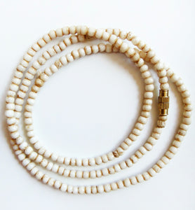Water Buffalo Bone 20 Inch Tea-Stained 3mm Bead Necklace