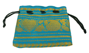 Cotton and Silk Brocade Drawstring Pouch