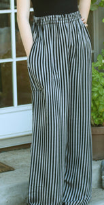 Tienda Ho Black and Gray Stripe Cotton Rayon Moroccan Pants
