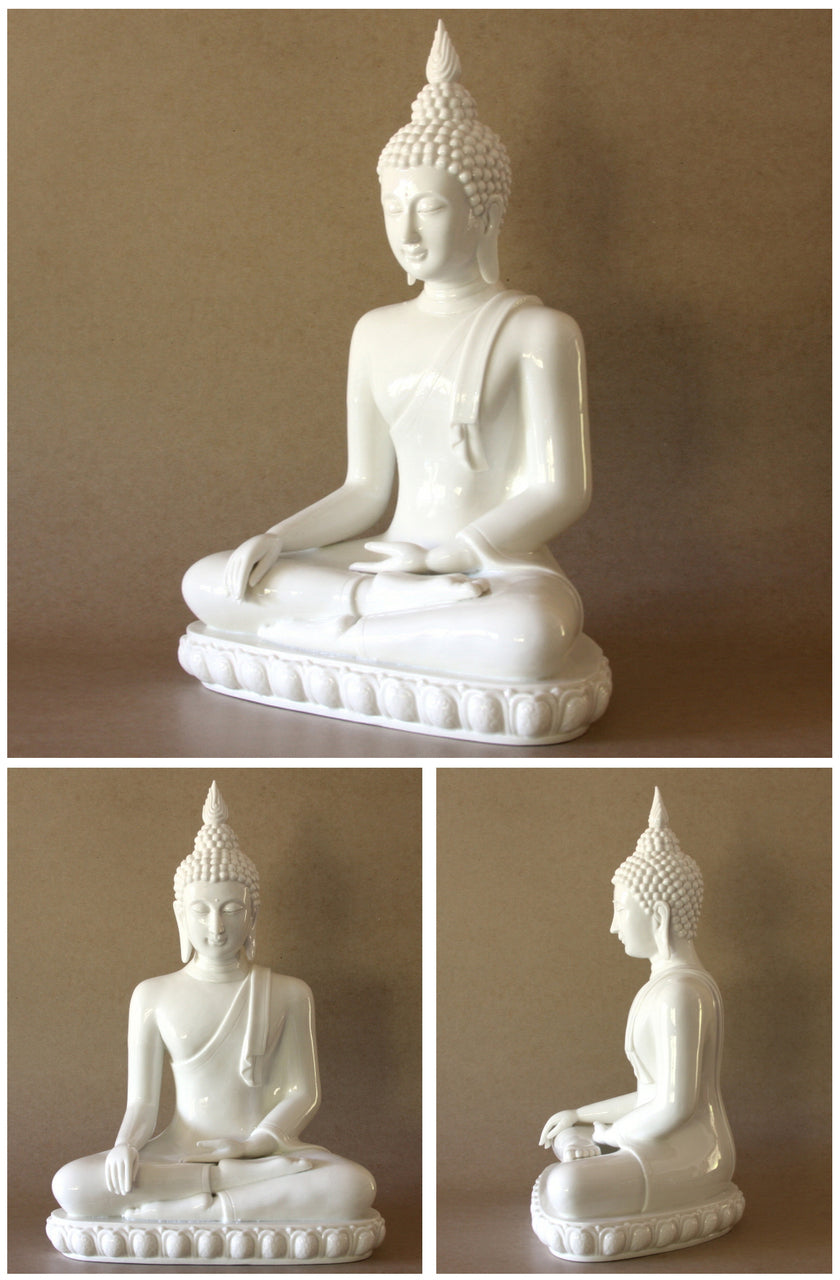 Sitting Thai Buddha Statue with Wreath of Fire Blanc-de-Chine Porcelain