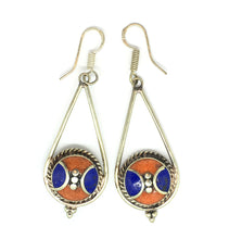 Load image into Gallery viewer, Lapis Lazuli Earrings with Red Coral Nepalese Sterling Silver Priestess Moon Earrings