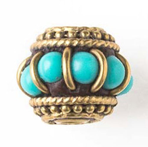 Tibetan Brass Bead with Turquoise Blue Howlite