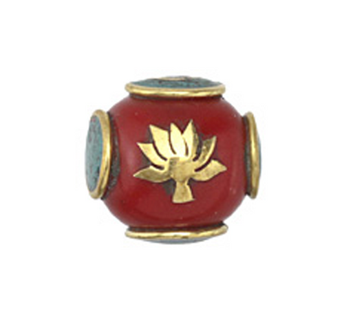 Tibetan Bead of Brass, Coral and Turquoise Lotus Bead