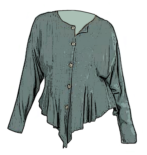 Tienda Ho Moroccan Sage Green Cotton Rayon Najma Tunic Top that is reminiscent of Sherwood Forest