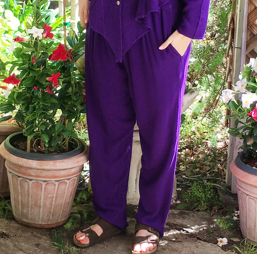 Tienda Ho Purple Cotton Rayon Moroccan Harem Pants