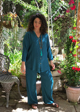 Load image into Gallery viewer, Tienda Ho Teal Harem Pants Cotton-Rayon Moroccan in CB12 Design - One Size