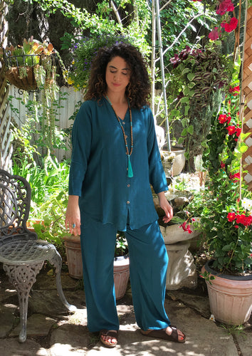 Tienda Ho Teal Harem Pants Cotton-Rayon Moroccan in CB12 Design - One Size