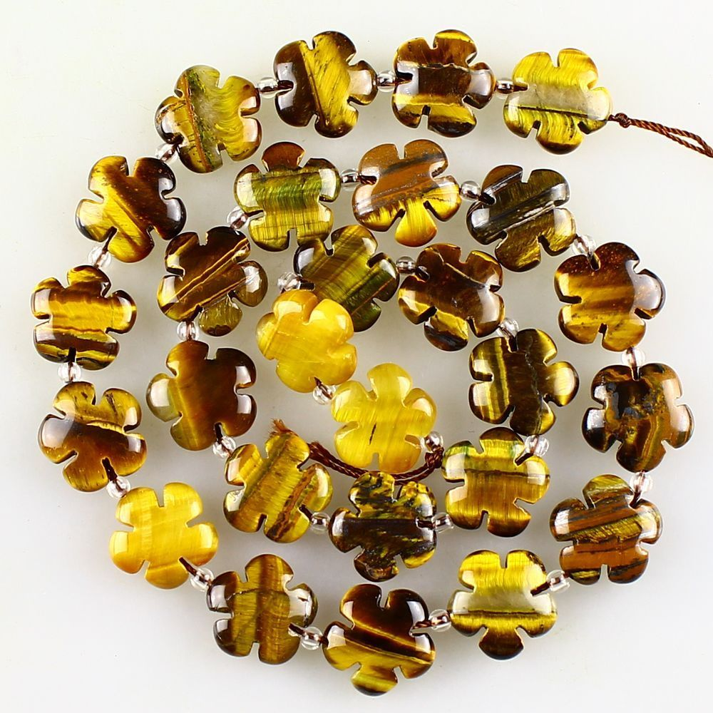 Tiger's Eye Beads with Flower-Power