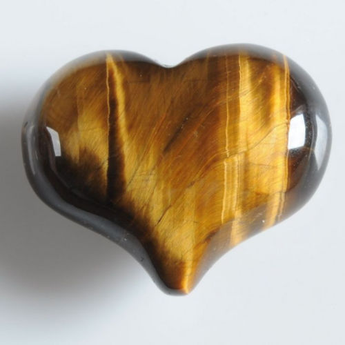 Golden Tiger's Eye Puffy Heart like a bubble
