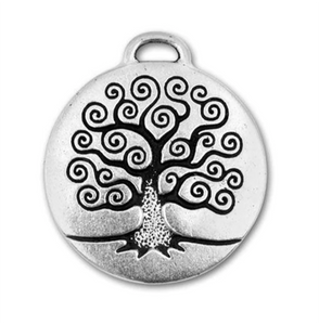 Tree of Life Charm silver with antique finish