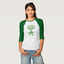 Load image into Gallery viewer, Celtic Tree of Life and Love Ladies Bella Baseball Jersey Tee in Green