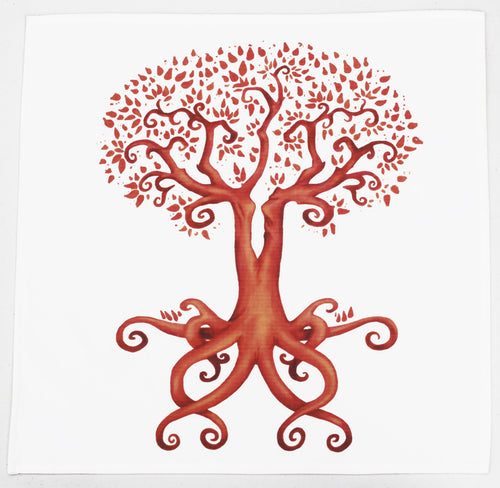 Tree of Life and Love Cotton Tarot Cloth in Sienna Brown