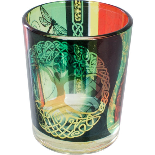 Tree of Life Colored Glass Votive Holder