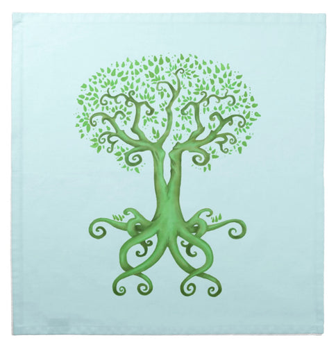 Tree of Life and Love on Blue Cotton Tarot Cloth